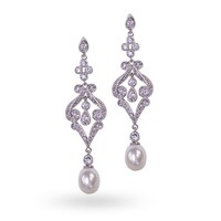 Mothers Day Jewelry CZ Pave Simulated Pearl Chandelier Earrings Rhodium Plated