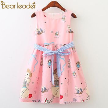 Bear Leader Girls Dresses 2018 New Fashion Princess Clohting Loving Kittens Little Girl Prints Girls Dresses For 3-8 Years