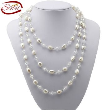 SNH 2015 Real Freshwater Pearl Necklace Long Natural genuine Pearl Necklace  for Woman