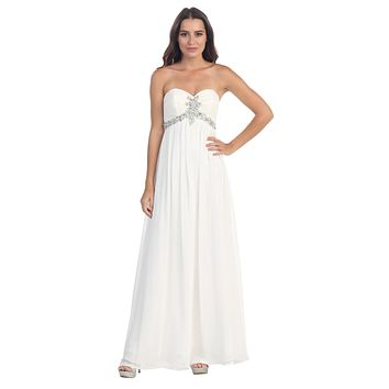 Pleated Strapless Studded Long White A Line Prom Gown Empire Waist