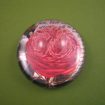 Bernard Red Rose and Script Round Medium Glass Dome Paperweight Floral Home Decor June Birthday