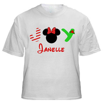 Christmas JOY Minnie Mouse Personalized T-shirt with Name - Birthday shirt, Party shirt, Disney tripMickey Mouse
