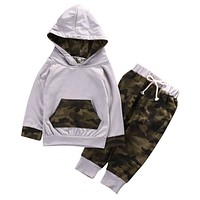 2 Pcs Baby Camouflage Clothing Set Babies Boy Girl Hooded Clothes Sets Infant Boys  Hoodie Tops+Pants 2pcs Outfits