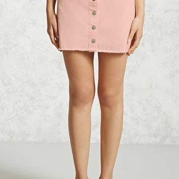 Frayed Button-Down Mini Skirt