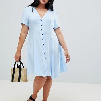 New Look Curve Ruched Sleeve Tea Dress at asos.com