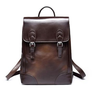 Cool Backpack school VIDENG POLO Fashion Business Casual Brand Leather Mens Travel Backpacks Cool Multifunctional Laptop Vintage backpack bag AT_52_3