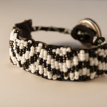 Beaded cheveron bracelet, statement bracelet, black and white jewelry
