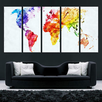 Watercolor World Map Canvas art, Large wall Art, modern wall art, World Map art, 5 panels, large world map print, extra large canvas