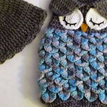 Free Shipping - Crochet Baby Owl Cocoon - Baby Sack with cap - Sleeping Owl - Photo Prop