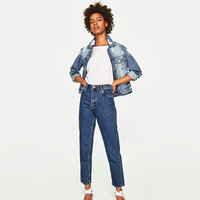 HIGH - RISE MOM FIT JEANS WITH BELT-High Waist-JEANS-TRF | ZARA United States