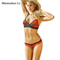 Minimalism Le Sexy Retro Bandage Bikini 2017 New Women Swimwear Swimsuit Push Up Bikini Set Beach Wear Print Bathing Suits BK606