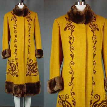 Vintage Coat Winter Embroidered Mustard Hippie Boho Chic Bohemian Coat Faux Fur Yellow Gold Princess M B 38""