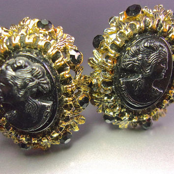 Black Resin Female Cameo Earrings, Victorian Revival, Rhinestones, Antique Gold Tone, Vintage