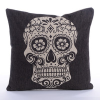 Skull Cotton Linen Throw Pillow Case Cushion Cover Home Sofa Decorative
