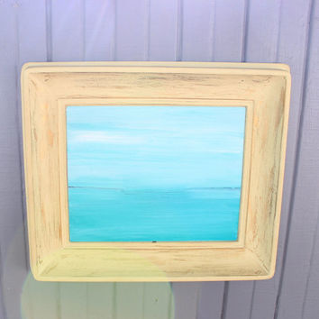 Surreal Seascape / Ocean Original Painting in Vintage  Laminart Frame , Aqua & Seabreeze for Beach Theme Room