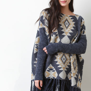 Tribal Pattern Relaxed Knit Sweater