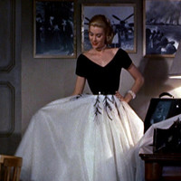 1950s Grace Kelly Dress... from Rear Window... Gorgeous interpretation with FULL Tulle Layered Skirt and Peacock Feathers...