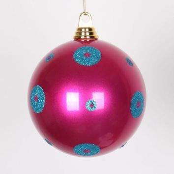 "Candy Cerise Pink w/ Turquoise Blue Glitter Polka Dots Christmas Ball Ornament 8""(200mm)"