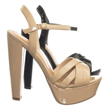 Wanna Retro Criss Cross Straps High Block Heel Platform Dress Sandal