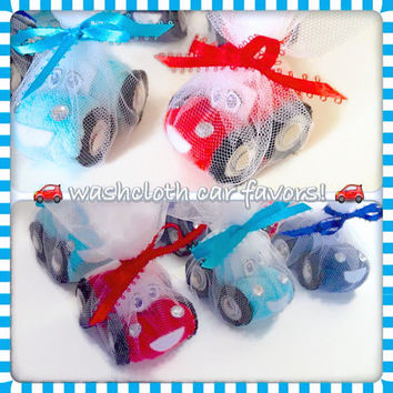 THE ORIGINAL Washcloth Car, Diaper Cake, Baby Shower Favors, easter, basket stuffers, Cars birthday party, car favors, valentines day