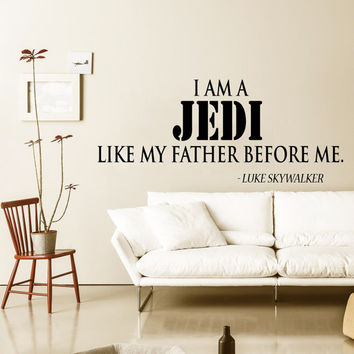 Jedi Master Decal Nursery Vinyl Stikers Art Mural Star Wars Sticker Bedroom I Am A Jedi Wall Decals Interior Design Living Room Decor KY88