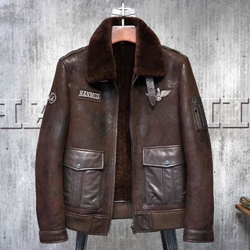 Red Brown Shearling Flight Jacket Military Style American Pilot's Le Bomber B3 Men's Shearling Coat Men's Fur Coat