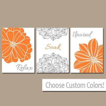 Bathroom Decor, Orange Gray BATHROOM WALL Art, Relax Soak Unwind, CANVAS or Prints, Flower Bathroom Wall Decor, Bathroom Quotes Set of 3 Art