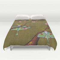 Luna Moths Perching Duvet Cover by Kate Halpin