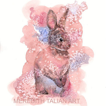 Bunny Rabbit Painting - Original Watercolor - 8x10 Print - Bunny Print - Rabbit Print - Bunny Theme Nursery - Woodland - Animal Lover Gift