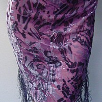 - Burnout Velvet Triangle Shawl w/Fringe - each 460A-W1731 - Other