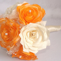 Orange Bridal bouquet, wedding bouquet, Paper Bouquet, Fabric Bouquet, Fake flower bouquet, silk bouquet, Rose bouquet, Bridal party Bouquet