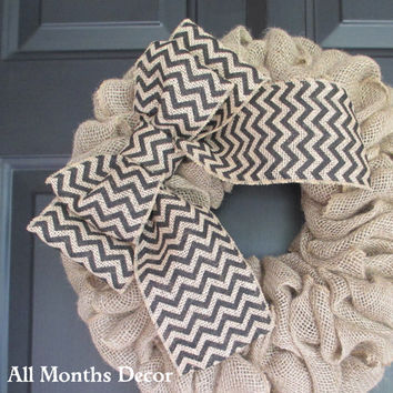 Black/Natural Chevron Burlap Bow, DIY Projects, Wreath Bow, Wedding, Floral Bow, Spring, Easter, Year Round, Multipurpose
