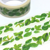 greenery garland Washi Tape 5M Green leaves spring garden leaves green garden deco masking sticker tape plant diary gardening planner gift