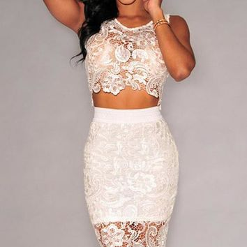 fashion hot two pieces lace hollow out dress