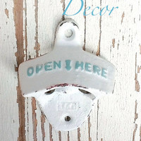 White Bottle Opener -White And Aqua - Cast Iron - Wedding Gift - Vintage Inspired -Retro Feel- Coastal Home Decor-Metal Wall Decor -Winter