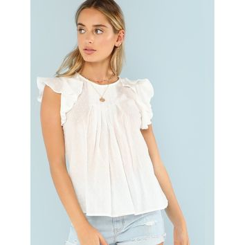 Quilted Neck Ruffle Trim Flowy Top