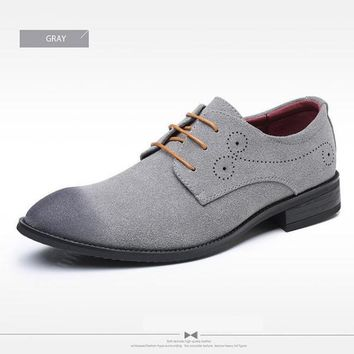 Classic Retro Brogue Oxfords Suede Leather Shoes