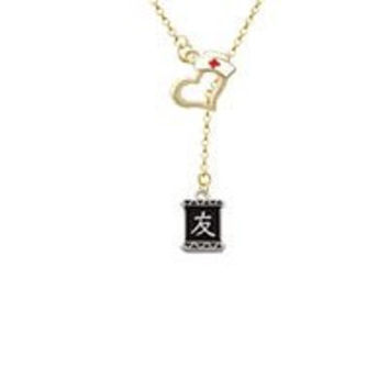 Chinese Character Symbols - Friendship Gold Tone Nurse Hat Heart Lariat Necklace