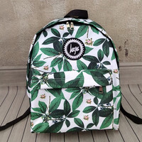 Green Leaves Printed Canvas Backpack