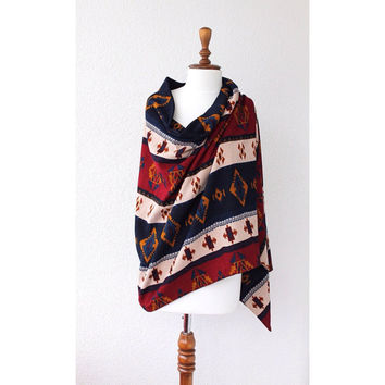 Aztec Print Shawl, Large Scarf, Oversize Scarf, Women Fashion Accessories Gift Ideas For Her