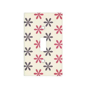 Cute Pink and Gray Flower Pattern Light Switch Covers