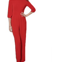 Red Three Quarter Length Backless Jumpsuit