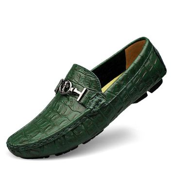 Plus Size EUR38-48 Designer Alligator Leather Printed Shoes Mens Leather Flats Men's Driver Loafers Slip On Handmade moccasins