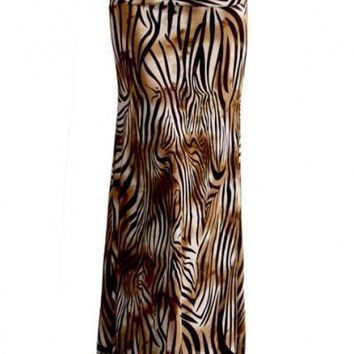 Animal Print Striped Full Length Banded Waist Foldover Maxi Skirt (Striped Tiger)