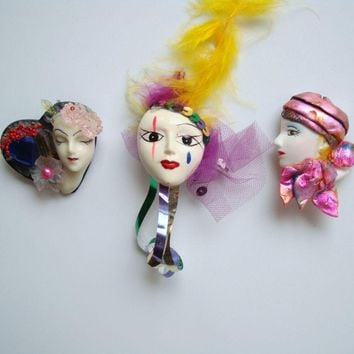 Lot of 3 Face Pins Handpainted Ceramic Porcelain Plastic Vintage Jewelry