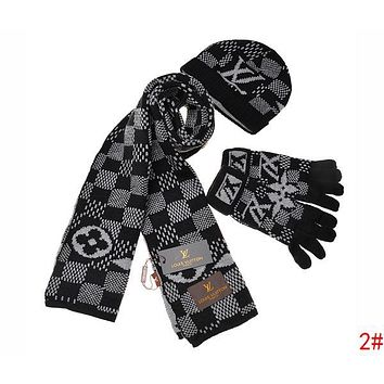 Louis Vuitton LV Autumn Winter Popular Retro Plaid Pattern Warm Knit Hat Cap Scarf Gloves Set Three Piece 2#