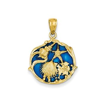14k Yellow Gold Blue Stained Glassed Cluster Shell Pendant