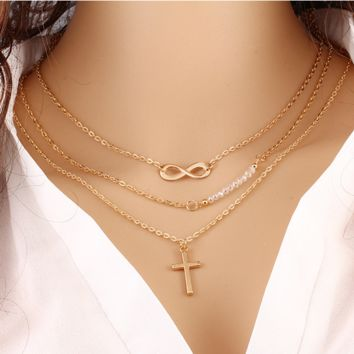 Trend of large - name temperament multi - layer metal cross inverted 8 chain clavings chain beads necklace anti - allergy