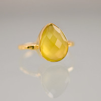 Yellow Chalcedony Ring - Gemstone Ring - Gold Ring - Bezel Set Ring - Mother's Day Gift