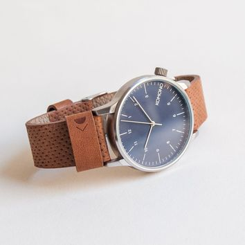 KOMONO Winston Watch in Blue Cognac